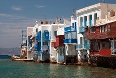 Vista panoramica di poca Venezia sull'isola di Mykonos Immagini Stock Libere da Diritti