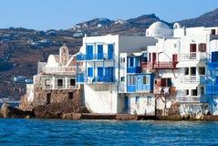 Vista panoramica di poca Venezia sull'isola di Mykonos Fotografia Stock