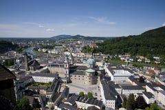 Vista panoramica di Salisburgo dalla fortezza di Hohensalzburg immagine stock libera da diritti