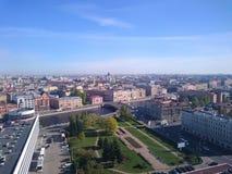 Vista panoramica di San Pietroburgo, foto del fuco, giorno di estate fotografia stock