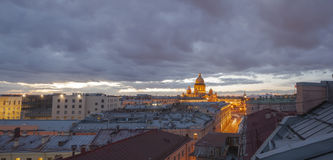 Vista panoramica di tramonto di San Pietroburgo Fotografie Stock