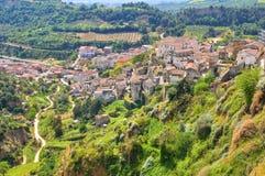Vista panoramica di Tursi. La Basilicata. L'Italia. fotografia stock libera da diritti