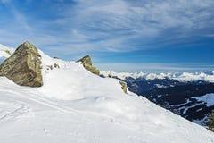Vista panoramica di una montagna nevosa alpina Fotografie Stock Libere da Diritti