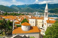 Vista panoramica di vecchia città Budua, Riviera adriatico, Montenegro fotografia stock
