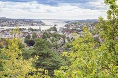 Vista panoramica di vecchia città della città Norvegia di Sandefjord Fotografia Stock