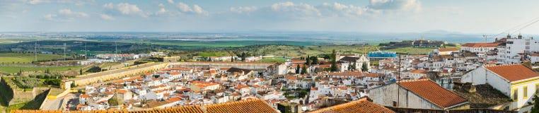 Vista panoramica di vecchia città di Elvas, a sud del Portogallo Fotografia Stock