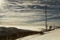 Vista panoramica drammatica dalla cima del Kleine Arber Immagini Stock Libere da Diritti