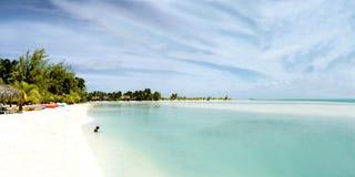 Vista panoramica enorme della laguna di Aitutaki immagini stock libere da diritti