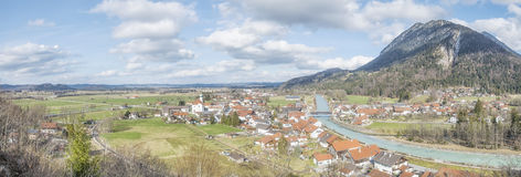 Vista panoramica a Eschenlohe Immagini Stock Libere da Diritti