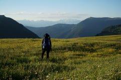 Vista panoramica impressionante dell'alpe nel Tirolo del sud nelle dolomia Fotografie Stock Libere da Diritti