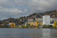 Vista panoramica a Montreux ed al lago Lemano, Svizzera Fotografia Stock