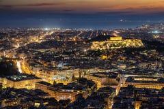 Vista panoramica sopra Atene, Grecia fotografia stock