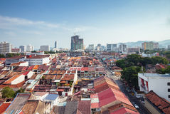 Vista panoramica sopra Georgetown, Penang, Malesia fotografia stock libera da diritti