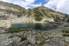 Vista panoramica stupefacente dei laghi Musalenski, montagna di Rila Fotografia Stock