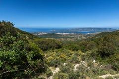 Vista panoramica stupefacente della città di Argostoli, Kefalonia, Grecia Immagini Stock