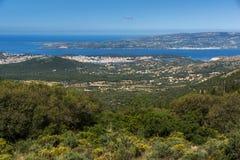 Vista panoramica stupefacente della città di Argostoli, Kefalonia, Grecia Immagine Stock
