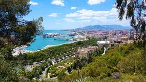 Vista panoramica stupefacente della città di Malaga, Andalusia, Spagna, Europa fotografia stock libera da diritti