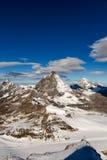 Vista panoramica stupefacente intorno al picco del Cervino, alpi Fotografia Stock