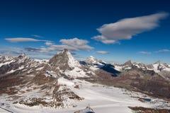 Vista panoramica stupefacente intorno al picco del Cervino, alpi Fotografie Stock