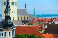 Vista panoramica su vecchia Tallinn Immagini Stock