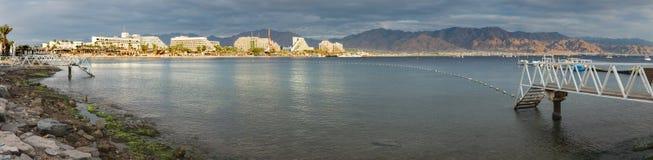Vista panoramica sugli hotel di località di soggiorno di Eilat, Israele Fotografie Stock Libere da Diritti