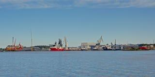 Vista panoramica sul porto del porto di Sølyst, Stavanger, Norvegia immagine stock