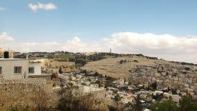Vista panoramica sulla chiesa dell'ascensione, supporto dal monte degli Ulivi, Gerusalemme fotografia stock