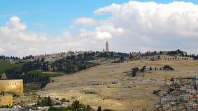 Vista panoramica sulla chiesa dell'ascensione, supporto dal monte degli Ulivi, Gerusalemme immagini stock libere da diritti