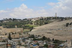 Vista panoramica sulla chiesa dell'ascensione, supporto dal monte degli Ulivi, Gerusalemme immagine stock