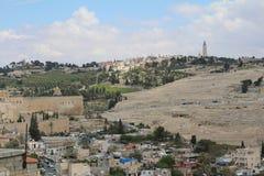 Vista panoramica sulla chiesa dell'ascensione, supporto dal monte degli Ulivi, Gerusalemme fotografia stock libera da diritti