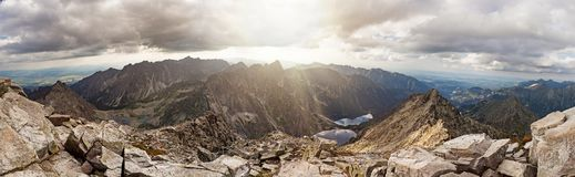 Vista panoramica sulle alte montagne di Tatra, Slovacchia, Europa Fotografia Stock Libera da Diritti