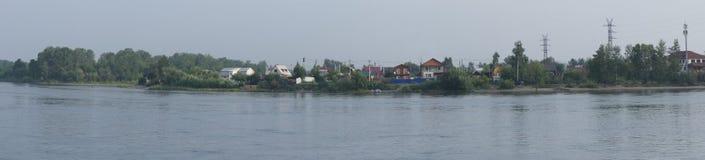 Vista panoramica sullo Strelka dei fiumi Angara e Irkut a Irkutsk Fotografia Stock