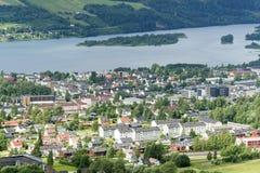 Vista panorâmica aérea de Lillehammer Fotos de Stock