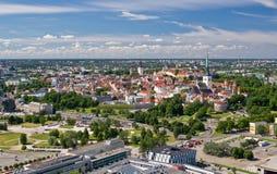 Vista panorámica de la ciudad vieja de Tallinn Fotos de archivo libres de regalías