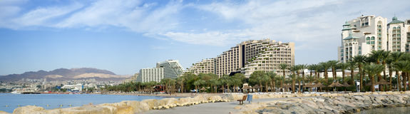 Vista panorâmico em hotéis de recurso de Eilat, Israel Fotos de Stock Royalty Free