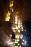Vista para baixo e lateralmente na cachoeira iluminada dentro do th Foto de Stock Royalty Free