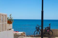 Vista para o mar com a bicicleta com assento, flores e toalha do bebê com a sapata nela - imagem imagem de stock royalty free