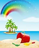 Vista para o mar com os brinquedos na areia ilustração do vetor