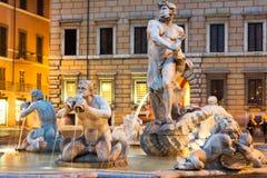 Vista para o norte da praça Navona com o fontana del Moro Imagens de Stock Royalty Free