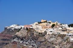 Vista parcial de Fira o de Thira en la isla de Santorini Grecia Imagen de archivo