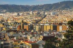 Vista a partire da Poble-sec di EL a Barcellona fotografie stock libere da diritti