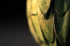 Vista parziale della sfera strutturata verde su fondo nero fotografie stock