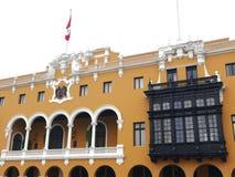 Vista parziale di Lima municipio e dei balconi Immagini Stock