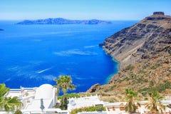 Vista perfeita do caldera de Santorini, lado de mar fotos de stock royalty free
