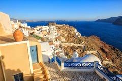 Vista perfeita do caldera de Santorini, lado de mar Imagens de Stock