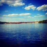 Vista piacevole di Dniper del fiume Fotografia Stock Libera da Diritti