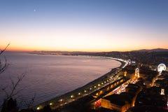 Vista piacevole di notte della spiaggia, Francia Immagine Stock Libera da Diritti