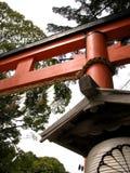 Vista piacevole di un portone rosso di torii nel Giappone fotografia stock