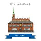 Vista piana dell'attrazione di vettore di Hall Square Copenhagen Denmark della città illustrazione vettoriale