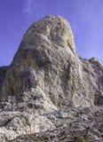 Vista a Pico Urriellu superiore, Picos de Europa, Asturie, Spagna fotografia stock libera da diritti